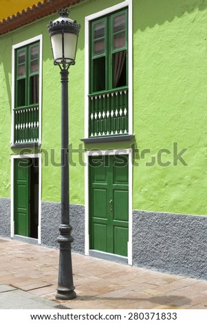 Lamp post in a town on La Gomera island, Spain - stock photo