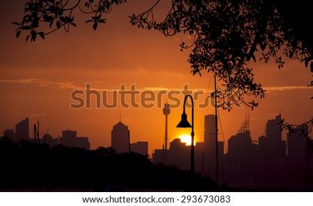 Lamp Post in Sunset - stock photo
