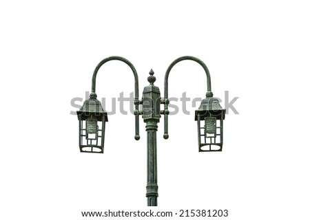 Lamp post isolated on white background - stock photo