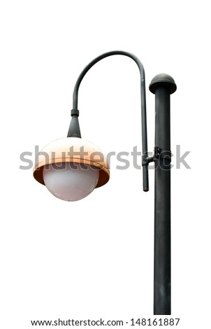 Lamp Post Lamppost Street Road Light Pole isolated on white - stock photo