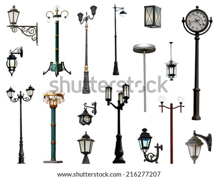 Lamp posts isolated on white background - stock photo