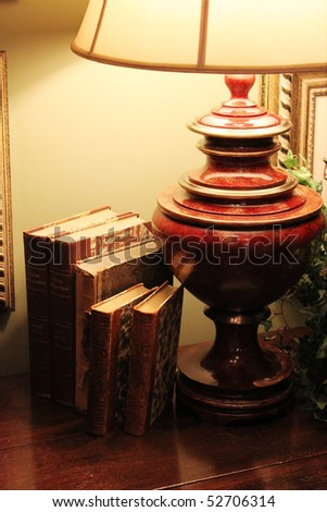 Lamp with books - stock photo