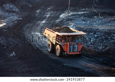 LAMPANG, THAILAND - DEC 29: coal-preparation plant. Big  mining truck at work site coal transportation, December, 29, 2014 in Lampang, Thailand - stock photo