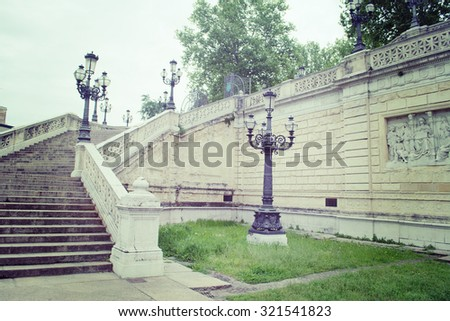 lamppost and stairs in Montagnola Park in Bologna, Italy - stock photo