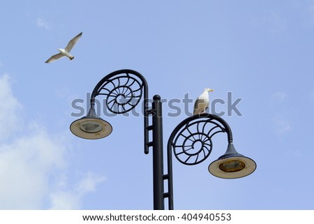 Lamppost in shape of fossil in Lyme Regis, Dorset - stock photo