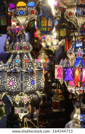 Lamps in the Marrakesh souks - stock photo