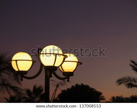Lamps in the tropic park. Sunset time. Res sea. - stock photo