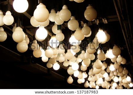lamps on the ceiling - stock photo