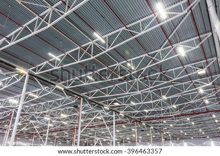 lamps with diode lighting in a modern warehouse - stock photo