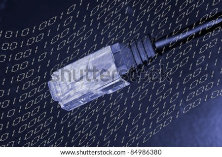 Lan cable, cable with RJ-45 jack closeup view with binary code in the background - stock photo