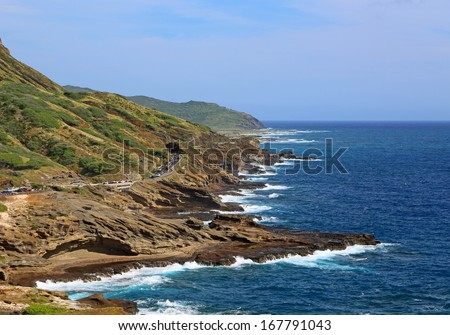 Lanai lookout - view at hwy 72 - east Oahu, Hawaii - stock photo