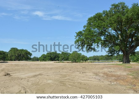 Land being prepared for construction of a golf course. - stock photo