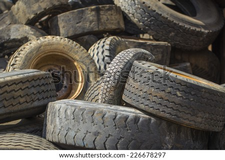landfill of tires - stock photo