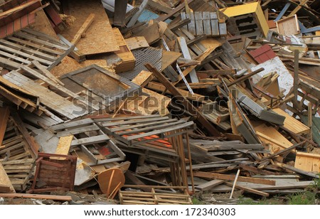 landfill wood recycling pile - stock photo