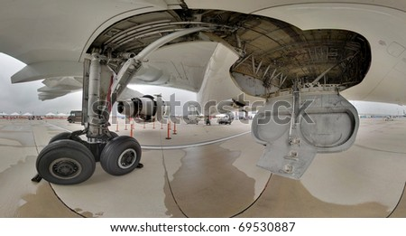 landing gear and wheel well wide angle - stock photo