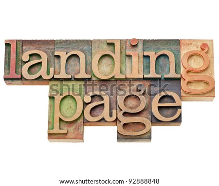 landing page - internet and search engine optimization (SEO) concept -  isolated text in vintage wood letterpress type, stained by color inks - stock photo