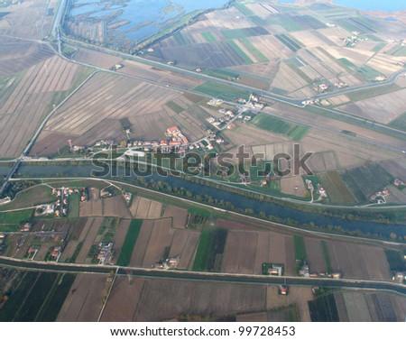 Landing to Venice - view of Veneto region from plane - stock photo