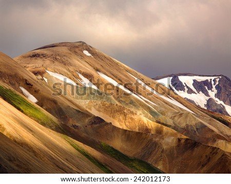 Landmannalaugar colorful mountains in Iceland  - stock photo