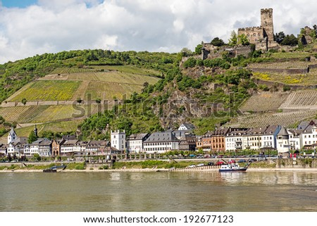 Landmark Gutenfels castle at Kaub in the famous Rhine Gorge north of Rudesheim, Germany - stock photo