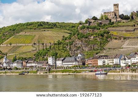 Landmark Gutenfels castle at Kaub in the famous Rhine Gorge north of Rudesheim, Germany - stock photo