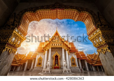 Landmark of Marble Temple of Bangkok during sunrise in the morning, Thailand. - stock photo
