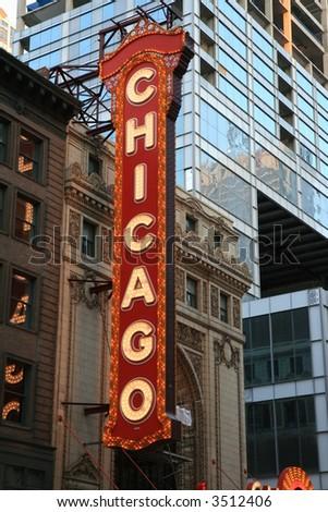 Landmark Theater Sign, Chicago - stock photo