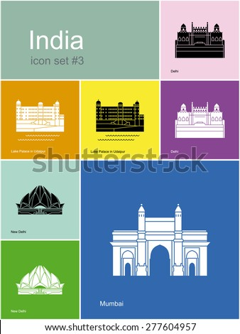 Landmarks of India. Set of color icons in Metro style. Raster illustration. - stock photo