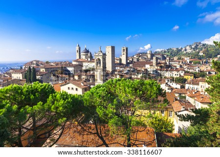 landmarks of Italy - beautiful town Bergamo, Lombardy, Italy - stock photo