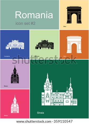 Landmarks of Romania. Set of color icons in Metro style. Raster illustration. - stock photo