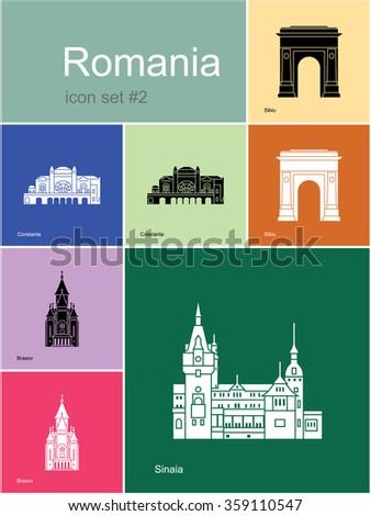 Landmarks of Romania. Set of color icons in Metro style. Raster illustration. - stock photo