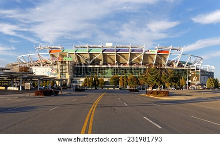 LANDOVER, MD - SEPTEMBER 23: FedEx Field in Landover, Maryland on September 23, 2014. FedEx Field is a football stadium and home of the Washington Redskins of the NFL. - stock photo