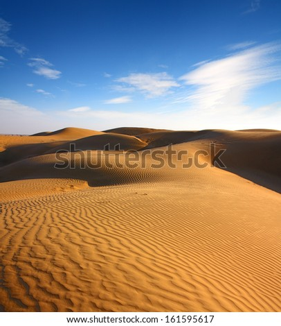 landsape in Tar desert India - stock photo