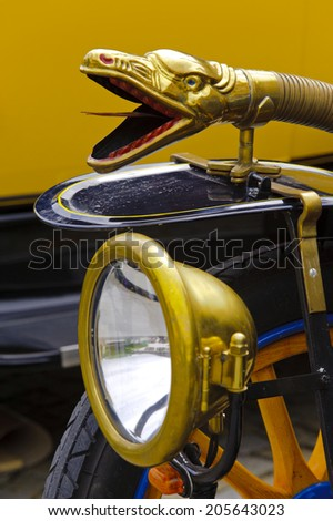LANDSBERG, GERMANY - JULY 12, 2014: Public oldtimer rally in Bavarian city Landsberg for at least 80 years old veteran cars with a front view of Delage Tourer, built at year 1915 - stock photo