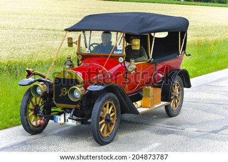 LANDSBERG, GERMANY - JULY 12, 2014: Public oldtimer rally organized by Bavarian city Landsberg for at least 80 years old cars with unknown drivers in Benz 8/20 Stanton Turner, built at year 1913 - stock photo