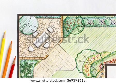 Landscape architect design backyard plan - stock photo