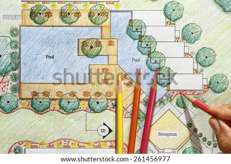 Landscape Architect Design hotel resort plan - stock photo