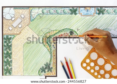 Landscape architect design L shape garden plan - stock photo