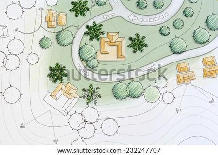 Landscape Architect Designing on site analysis plan - stock photo