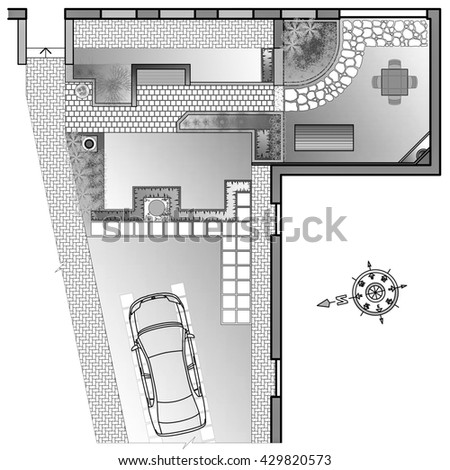 Landscape Architect Drawing. Planning of green space on site - stock photo