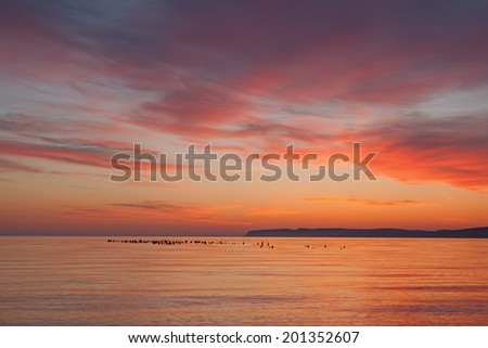 Landscape at dawn of Sleeping Bear Bay, Sleeping Bear Dunes National Lakeshore, Lake Michigan, Michigan, USA  - stock photo