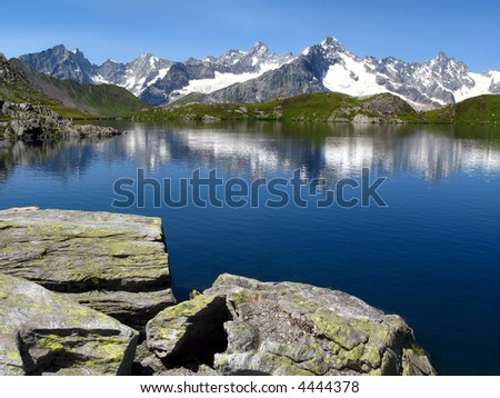 Landscape at Fenetre Lakes, Swiss Ferret valley (06) - stock photo