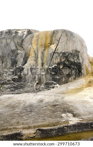 landscape at Mammoth Hot Springs in Yellowstone - stock photo