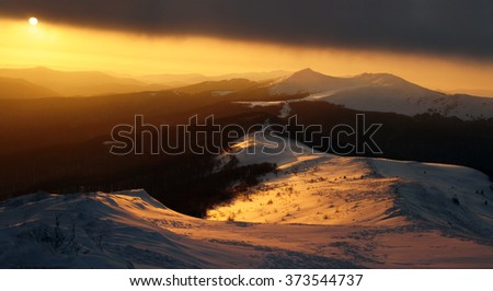 landscape / background view of Bieszczady mountain during the winter time - stock photo
