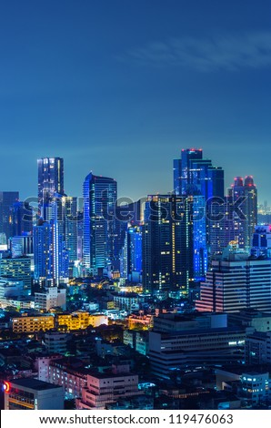 Landscape Bangkok city Modern building at twilight, high angle. - stock photo