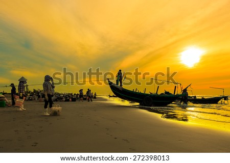 Landscape beautiful. Shadow fishermen in the early morning. - stock photo
