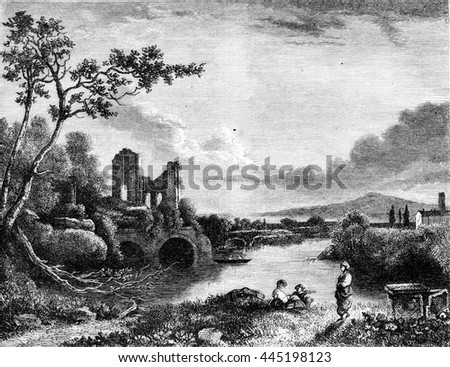 Landscape by Richard Wilson, vintage engraved illustration. Magasin Pittoresque 1852.