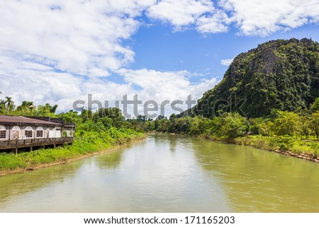 landscape by the Song river at Vang Vieng from Laos - stock photo