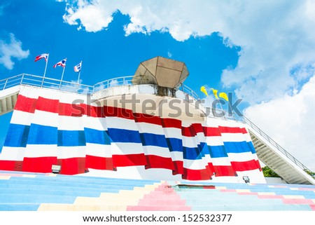 landscape colorful stadium seat sport of thailand on sky - stock photo