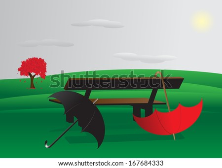 Landscape. Couple of umbrellas for men and women near the bench overlooking the mountains and the sky - stock photo