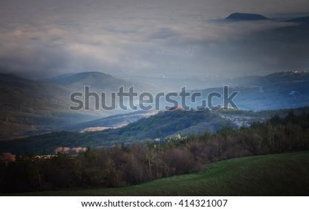 Landscape. Crimean mountains, Alushta in the fog. Crimea, Russia - stock photo